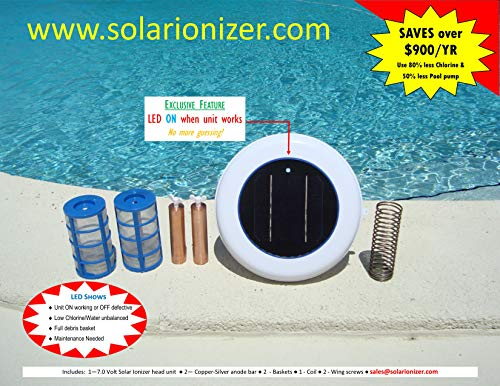 (Solar swimming pool Ionizer with LED indicator (Shows On or OFF & Pool Chemistry) - 2 anodes & 2 baskets & 2 Wing Screws - Saves more than 900/yr - NO TAX)