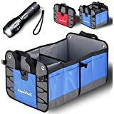 AmeriLuck Premium Trunk Organizer, Grocery Shopping Bag, Cargo Storage Container, Portable Collapsible Foldable, Water-Proof Heavy Duty 1680D Oxford Polyester, w/Nice Gift LED Flashlight (Blue)