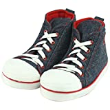 Forfoot Men's Winter Warm High-top Slippers House Boots Indoor Shoes Christmas Gift Navy Blue&Red US Mens Size 10