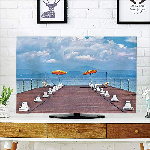 Alabama Sunshade (iPrint LCD TV Cover Lovely,Seascape,Luminous Sunshades and Sun Beds On a Jetty at Lake Seascape Scenic,Blue Orange Dried Rose,Diversified Design Compatible 65