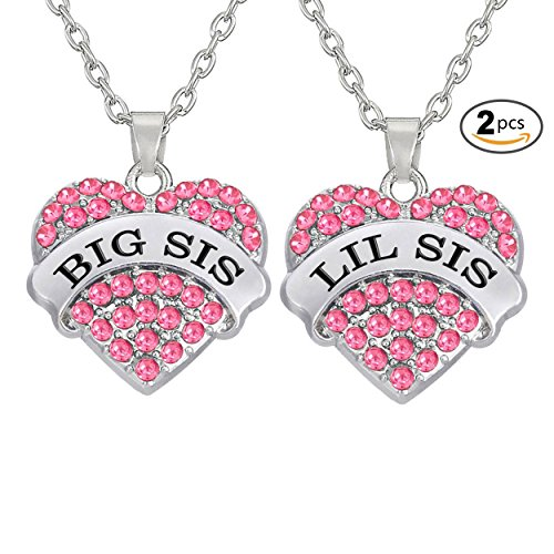 CULOVITY Clear Crystal Big Little Sister Necklace Heart Jewelry Best Gift for Sisters Friend