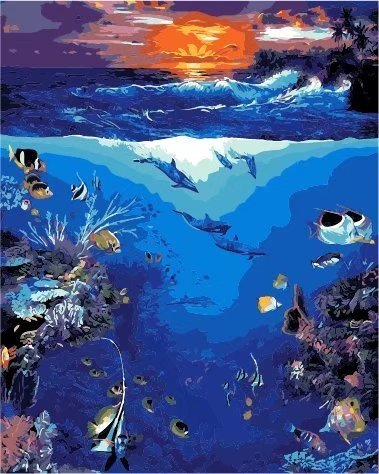 ESOOR Oil Painting for Adults Kids Paint By Number Kit Digital Oil Painting Underwater World 16X20 Inches