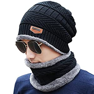 JOYEBUY Men's Soft Beanie Hat Scarf Set Knit Hat Warm Thick Winter Hat