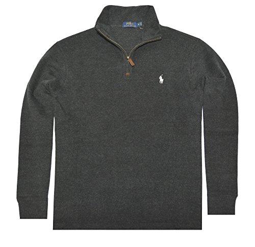 Polo Ralph Lauren Mens Half Zip French Rib Cotton Sweater (Black White Pony, Medium) by Polo Ralph Lauren