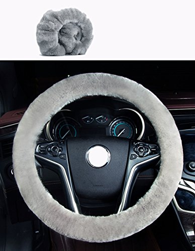 U&M Car Stretch-on Steering Wheel Cover Soft Australian Natural Sheepskin Luxurious Wool Vehicle Non-slip Wheel Cushion Protector Available for 35cm-43cm