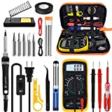 Tabiger Soldering Iron Kit, Soldering Kit with LCD Digital Multimeter, 60W Soldering Iron with 5 Extra Tips, Stand, Desoldering Pump, Solder, Wire Stripper Cutter, Tweezers, Tape, Tool Bag