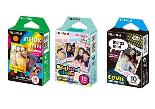 Fujifilm Instax Mini Instant Film Rainbow & Staind Glass & Comic Film -10 Sheets X 3 Assort