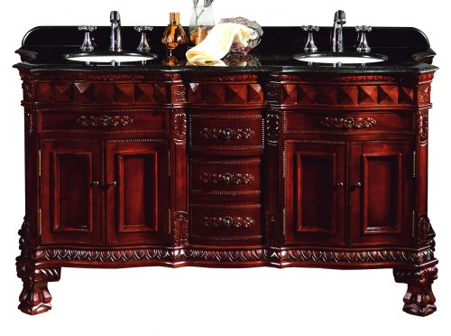 (Ove Decors Buckingham DBL-VB Double Vanity with Granite Countertop and Ceramic Double Basins, 60-1/5-Inch Wide, Dark Cherry)
