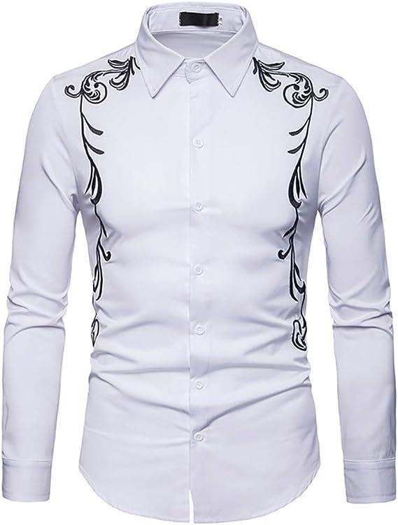 Hombres Bordados Camisa De Manga Larga Casual Slim Fit Western Cowboy Camisa De Vestir Retro Prendas De Abrigo Top: Amazon.es: Ropa y accesorios