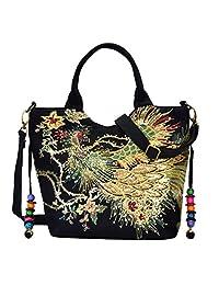 HITSAN INCORPORATION Vbiger Women Canvas Shoulder Bag Peacock Embroidery  Handbag Stylish Tote Bags Casual Cross- f815eb7743e67