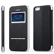 Vandot Apple Iphone 6 6s 4.7 inch Phone Case,Premium Ultra Slim [Touch Series] [View Window] Flip Folio Stand Case Pattern PU leather Soft TPU Silicone Back Protective Cover Shell with Metal Sensor-Black