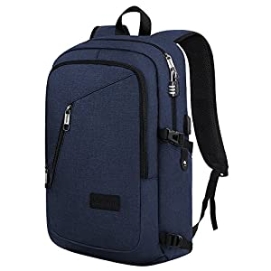 Slim Laptop Backpack, College School Travel Bag for Women & Men - Computer Sleeve Fits 15.6 Inch Notebook, with USB Charging Port, Anti-Theft Combination Lock by Matein - Blue
