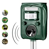 Shenlin Solar Powered Ultrasonic Animal and Pest Repeller,Waterproof Outdoor Animal Repeller with LED