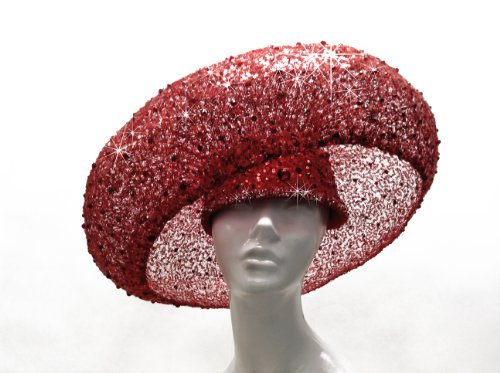 Red Birdnest Hat Couture Stella Rhinestones by Mr. Song Millinery