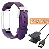 Fitbit Alta HR Bands - SHONCO Safe Health Silicone Replacement Wristband With Metal Buckle Clasps for Fitbit Alta Alta HR and USB Charger Charging Cable Cord with Reset Button for Alta HR(3.3 ft)
