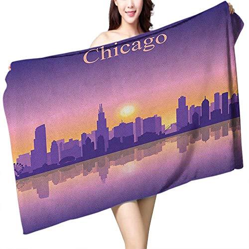 (homecoco Custom Bath Towel Chicago Skyline Sunset in Illinois American Horizon Behind High City Silhouettes W28 xL55 Suitable for bathrooms, Beaches,)