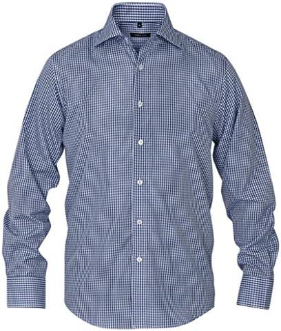 vidaXL Camisa de Vestir para Hombre Talla S-XXL Cuadros Blanca y ...