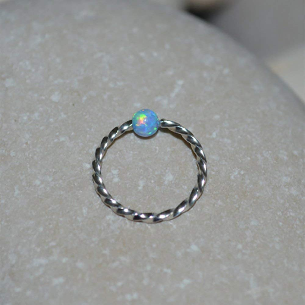 Tragus Earring Cartilage Hoop Earring Helix Ring Nose Piercing 18g Septum Ring 3mm Opal NOSE RING STUD //// Silver Nose Hoop
