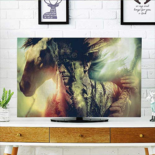 tv dust Cover Angel Wings Skull and Heart Full of Blood Symbol of Real Love Bathroom Dust Resistant Television Protector W35 x H55 INCH/TV 60