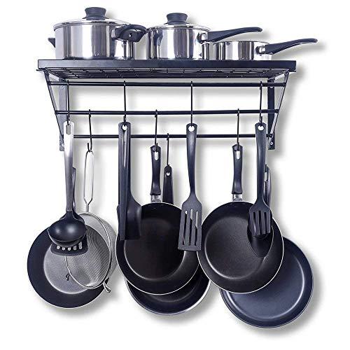 Kitchen Wall Pot Pan Rack - Pan Pot Organizer with 10 Hooks for Cookware Utensils Organization,Black (002)