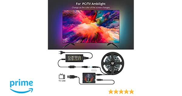 Ambilight USB LED Strip Light Kit with APP, Rope Lighting RGB Dream Color  Strip TV Bias Lighting, WS2812 Tape Ribbon String for 27-40 Inches HDTV,