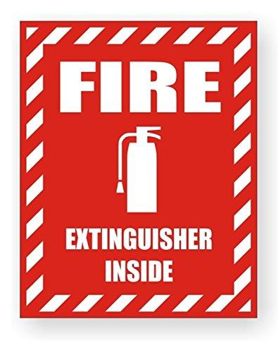1-Pcs Prime Popular Fire Extinguisher Inside Car Sticker Vinyl Camper Labels Boat Decals Security Boat Size 3-3/4