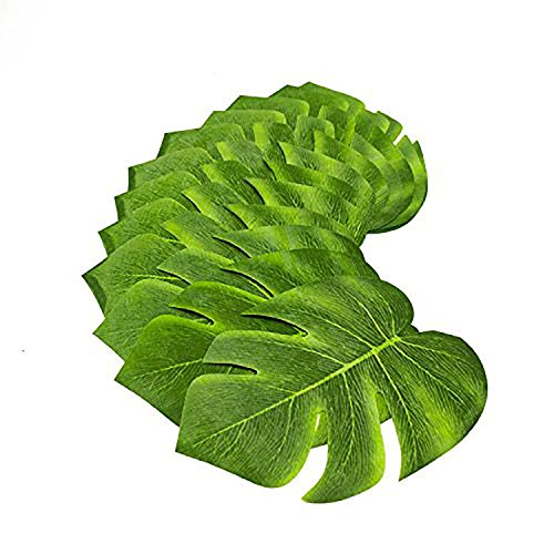 Tytroy Coated Fabric Artificial Tropical Green Plant Leaves Hawaiian Luau Party Decoration (Set of 12 leaves)