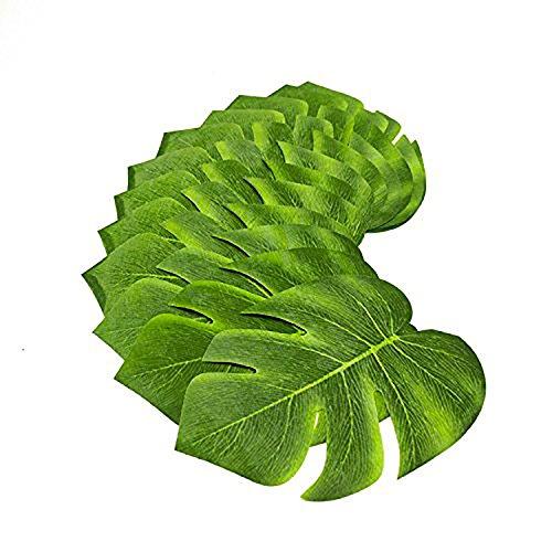 Deco4Fun Set of 60 Green Artificial Tropical Leaves - CHOOSE YOUR QUANTITY - Imitation Plant Loose Fabric Leaf for Hawaiian Safari Luau Jungle Beach Nature Island Theme Table Wall Decorations (Safari Themed Centerpiece Ideas)