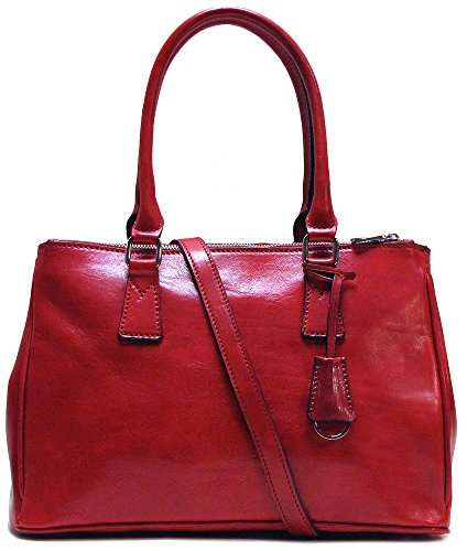 Roma Leather Satchel Shoulder Bag in Red by Floto