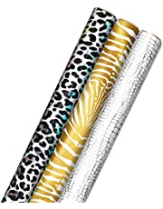 Hallmark Animal Print Wrapping Paper with Cut Lines on Reverse (3-Pack: 85 sq. ft. ttl) for Birthdays, Christmas, Holidays, Graduations, Valentine's Day, Mother's Day