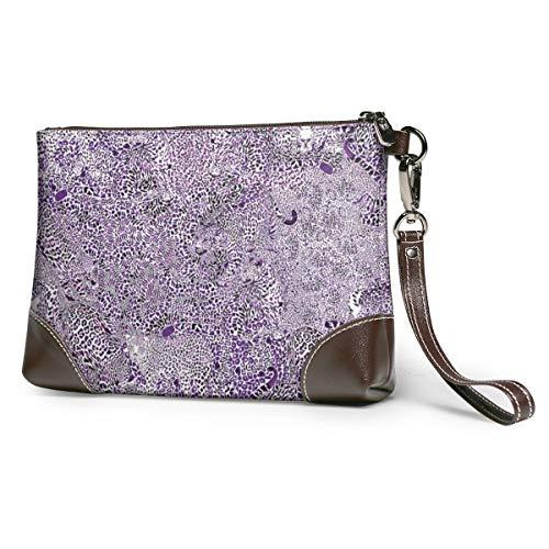 Wallet Handbag Coin Purse Leopard Spots In Violet Leather Clutch
