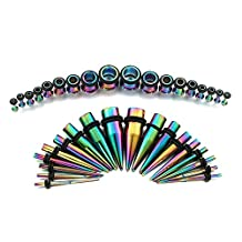 Rainbow Ear Gauges Stretching Kit 36 Pieces Stainless Steel Tapers with Plugs 14G - 00G Set - 18 Pairs Vcmart