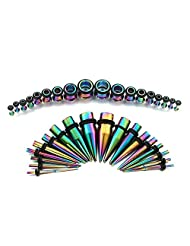 METALIFE Taper Kit and Plugs Rainbow Ear Gauges Stretching Kit 36 pcs Surgical Steel Tapers and Plugs 14G - 00G 18 Pairs