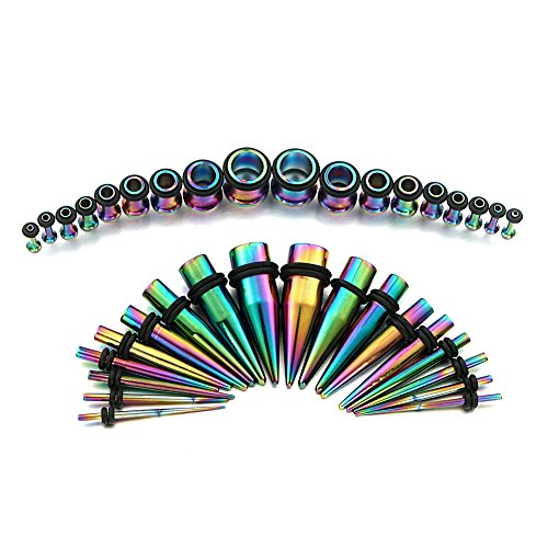 vcmart 14G-00G Rainbow Ear Gauges Stretching Kit 36 Pieces Tapers Plugs Eyelets Implant Grade Steel by vcmart
