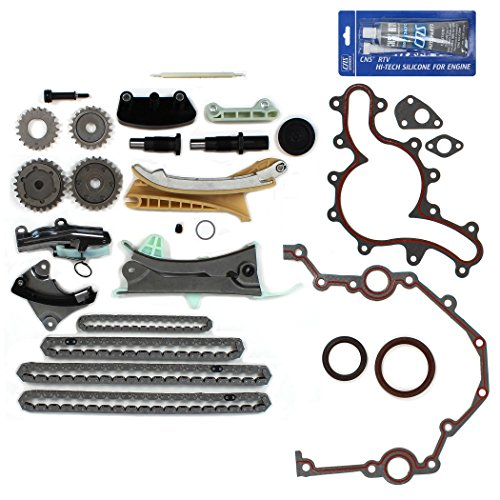 NEW TK4090SKSI Timing Chain Kit, Cover Gasket Set, Front Oil Seal, & RTV Gasket Maker for Ford / Mazda / Mercury 4.0L (4015cc) 245cid SOHC V6 (12-Valve) Engine, Vin Code