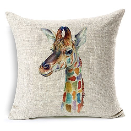 None DreamsBig Cotton Linen Throw Pillow Cover Case 18x18, Giraffe