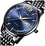Men's Ultrathin Sapphire Crystal Automatic Watch with Day Date Mechanical Wrist Watches Black Stainless Steel Bracelet Watches