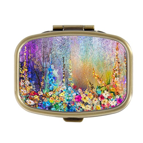 Vintage Flower Abstract Floral Watercolor Painting Custom Fashion Bronze Tone Rectangular Pill Box Medicine Tablet Holder Wallet Organizer Pocket Case