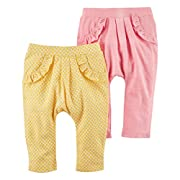 Carter's Baby Girls' 2 Pack Pants, Pink/Yellow Jersey, 3 Months