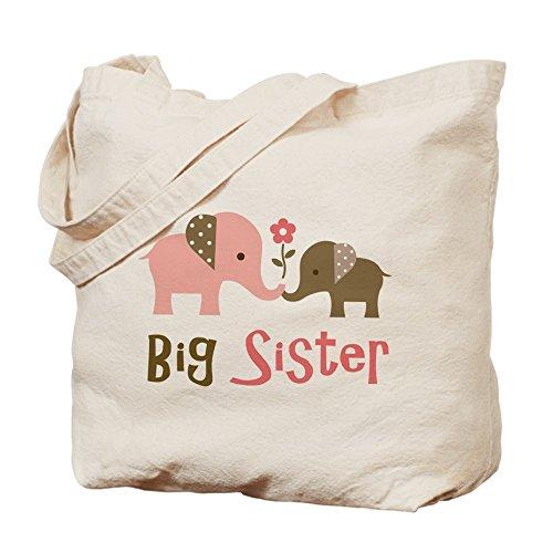 CafePress - Big Sister - Mod Elephant Tote Bag - Natural Canvas Tote Bag, Cloth Shopping Bag