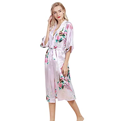 Free Fisher Mujer pijama ropa de dormir Corto satén albornoz kimono Bata de Pavo & Flores