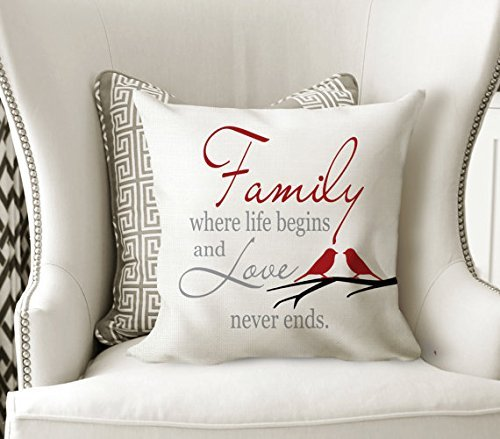 Deluxe Digital Spa (Family Where Life Begins Pillow Cover - Family Quote - Living Room Pillowcase - Custom Throw Pillow Cover - Rustic Home Decor - Decorative Pillow Cover - Housewarming Gift Idea - 16x16)