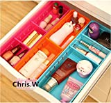 Chris.W Colorful Creative Plastic Drawers Organizers with Removable Dividers, Storage Box Holder for Stationery/Makeup/Cutlery/Everything, Set of 3