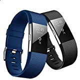 Hanlesi Band for Fitbit Charge 2, Soft Silicone Breathable Fashion Sport Strap for Fit bit Charge2 Replacement Original Accessory Black Wristband with Hole for Girl Boy