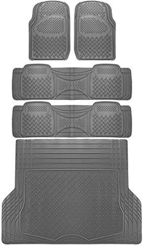 OxGord 5pc Rear Set Diamond Heavy Duty Rubber Floor Mats, Universal Fit Mat for SUVs & Vans- Rear Driver & Passenger Side, Rear Runners and Trunk Liner (Gray)