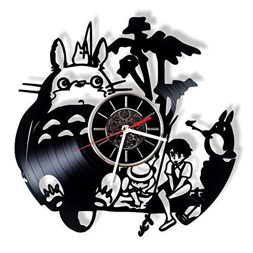 MoniArtDecor Studio Ghibli Anime Vinyl Record Wall Clock - Handmade Gift for Any Occasion - Modern Home Decor and Unique Piece of Art