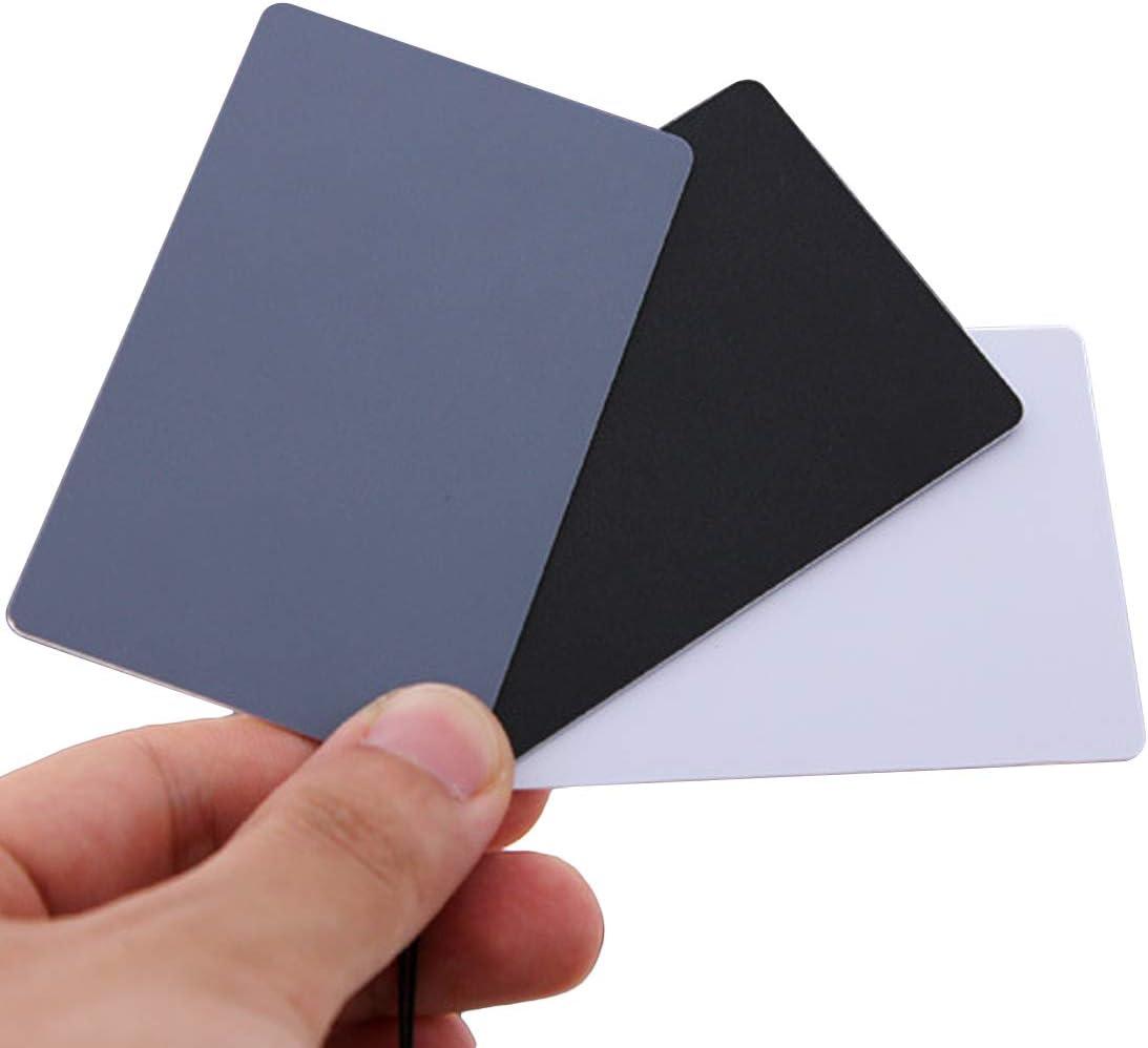 Kavas 3 In 1 8.5 X 5.4cm White Black 18/% Gray Color Balance Cards Digital Grey Card With Neck Strap For DSLR Camera