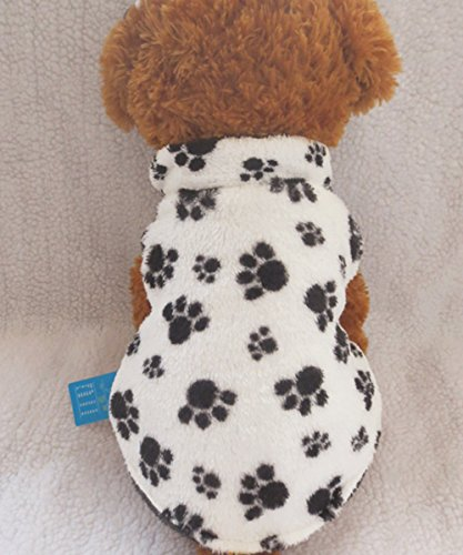 Tangpan Pet Hoodie Dog Feet Print Hooded Coat Winter Apparel Color White Size S Leopard Print Dog Coat