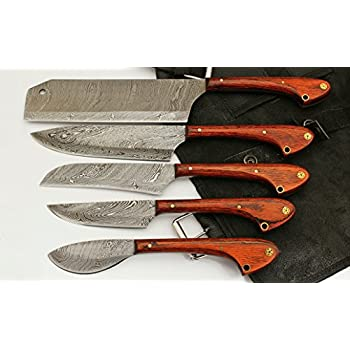 Charming Custom Made Damascus Steel 5 Pcs Professional Kitchen Chef Knife Set With 5  Pocket Case Chef