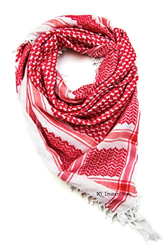 Red Shemagh Scarf Keffieh Kafiya Traditional Arab